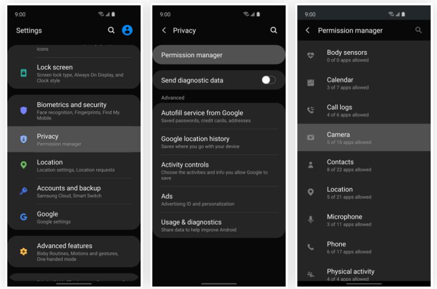 تنظیمات حریم خصوصی در تلفن همراه